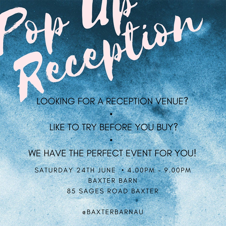"New ""popup"" event announced: Baxter Barn Reception"