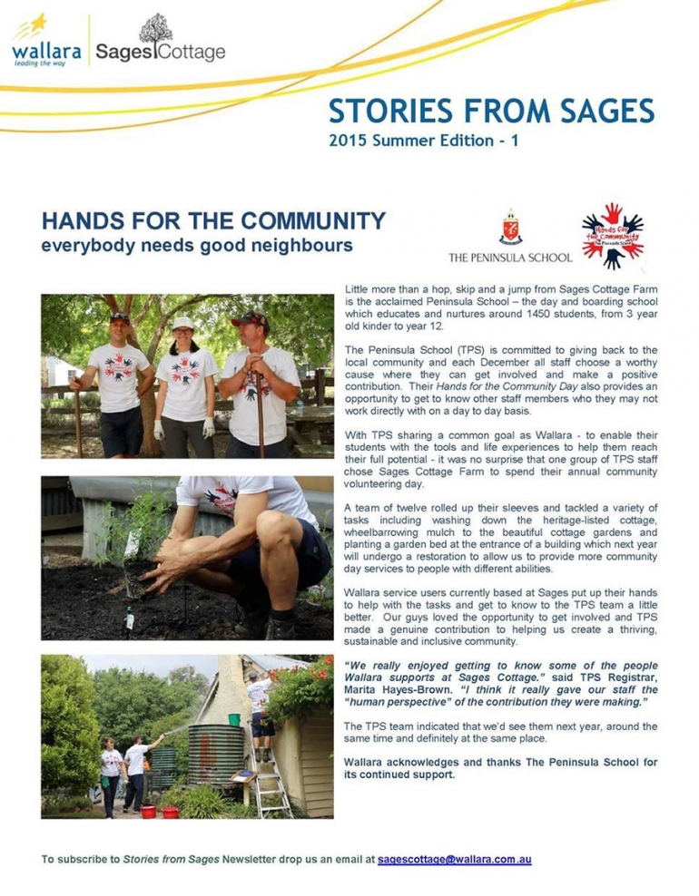 Hands for the community - everybody needs good neighbours